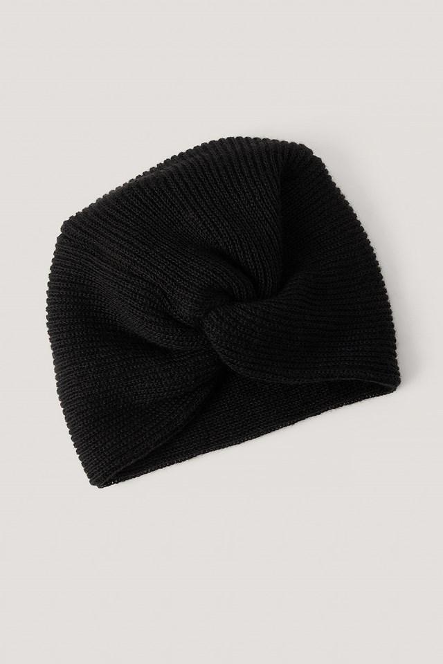 Knotted Turban Beanie Black