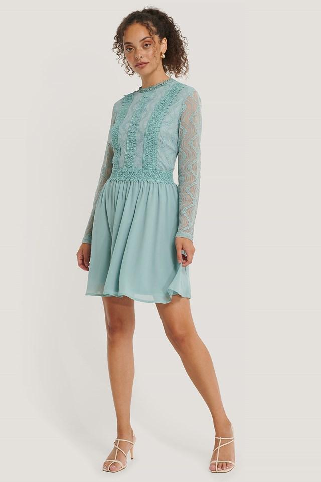 Pastel Blue Lace Anglaise LS Mini Dress