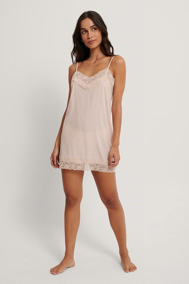 Pink Lace Detail Night Dress