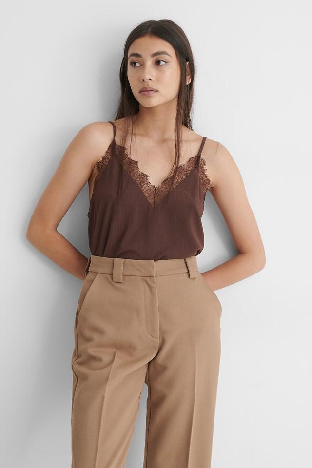 Brownie Lace Detail Singlet