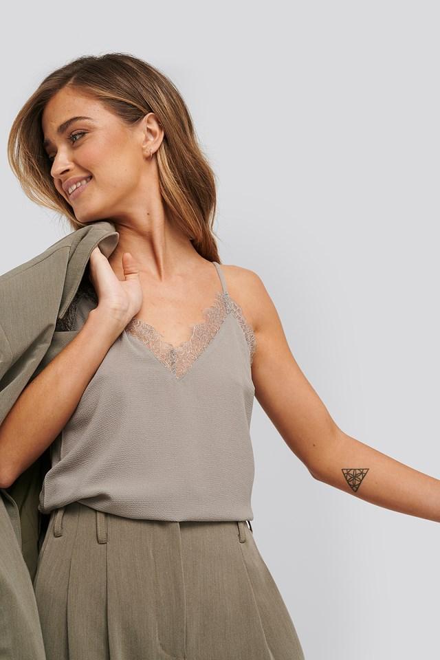 Moss Grey Lace Detail Singlet