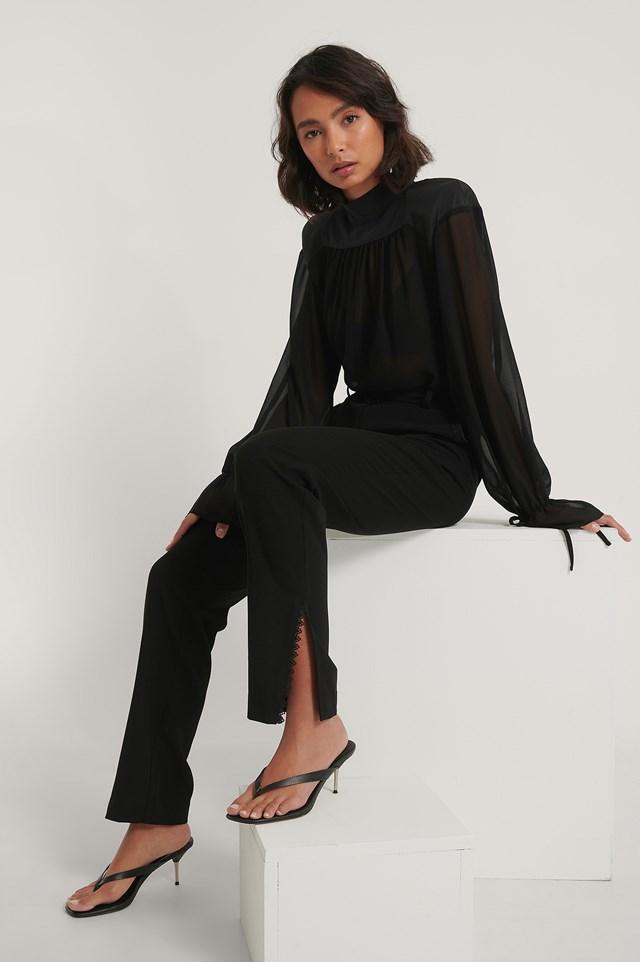 Black Lace Detail Suit Pants