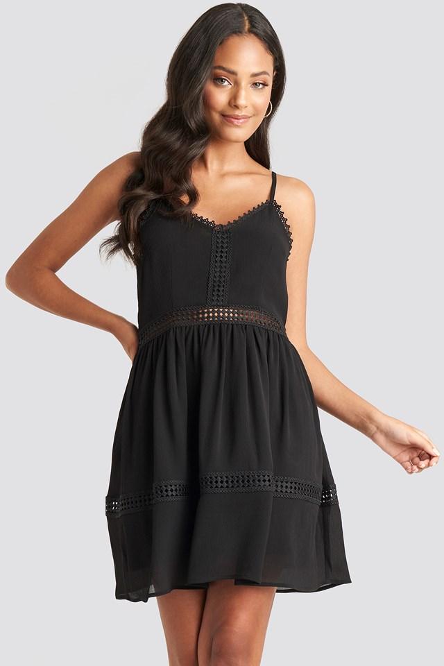 Lace Insert Flowy Mini Dress Black