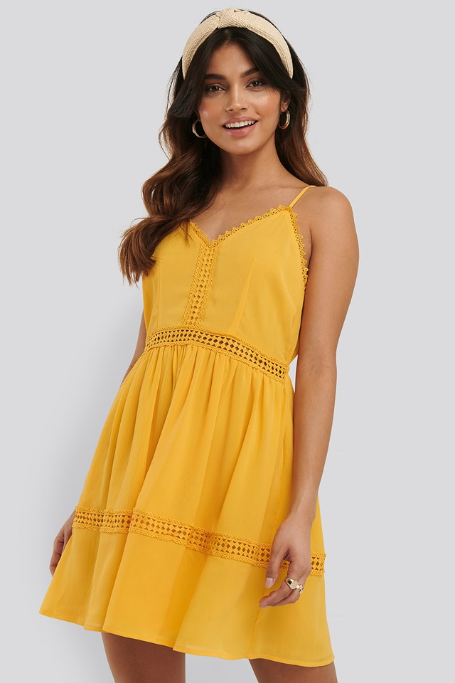 Citrus Lace Insert Flowy Mini Dress