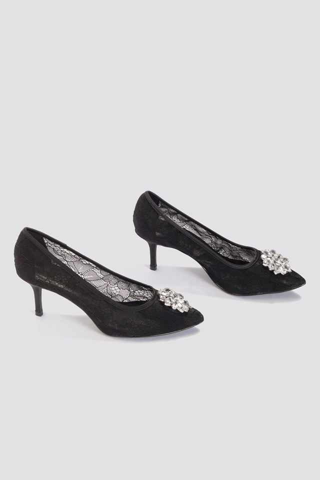 Lace Rhinestone Pumps Black
