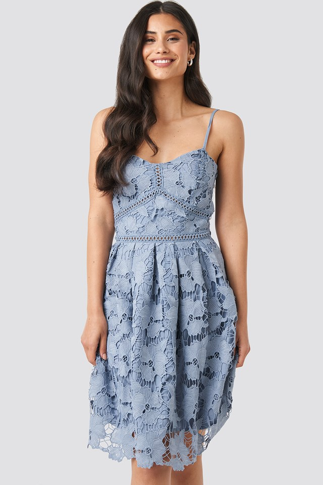 Dusty Light blue Lace Strap Dress