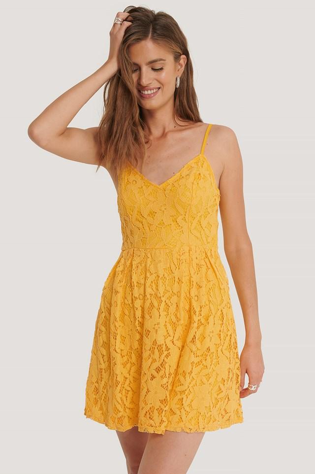 Lace Strap Mini Dress Citrus