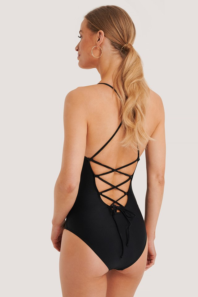 Black Lacing Back Swimsuit