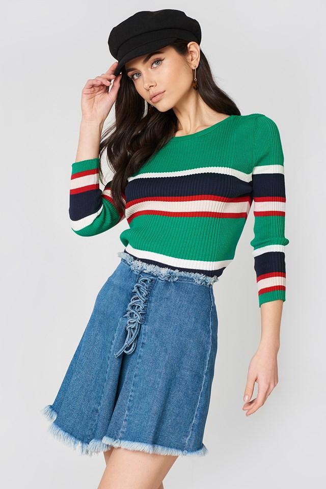 Mid Blue Lacing Front Denim Skirt