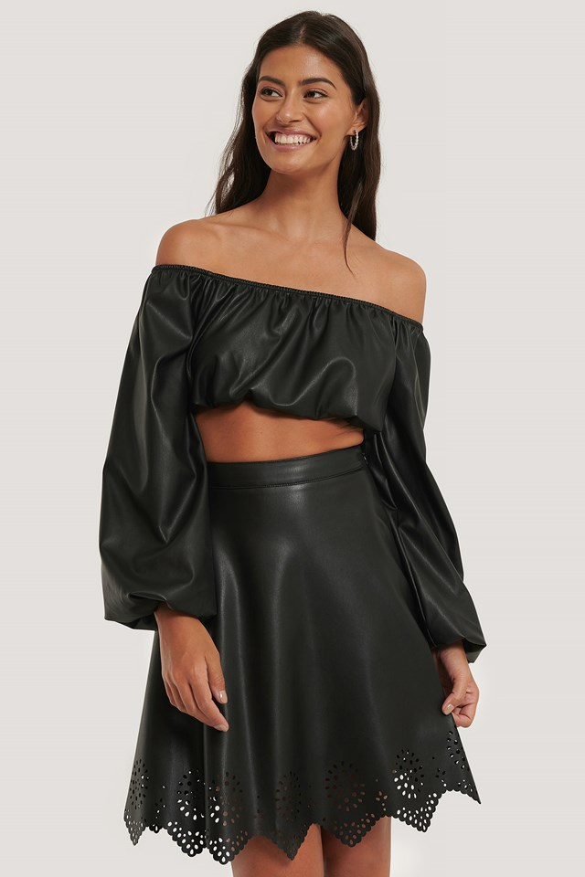 Laser Cut PU Skirt Black