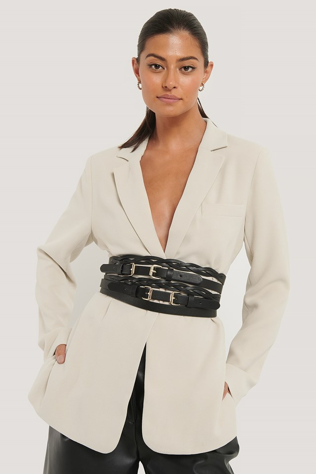 Layer Look Waist Belt Black