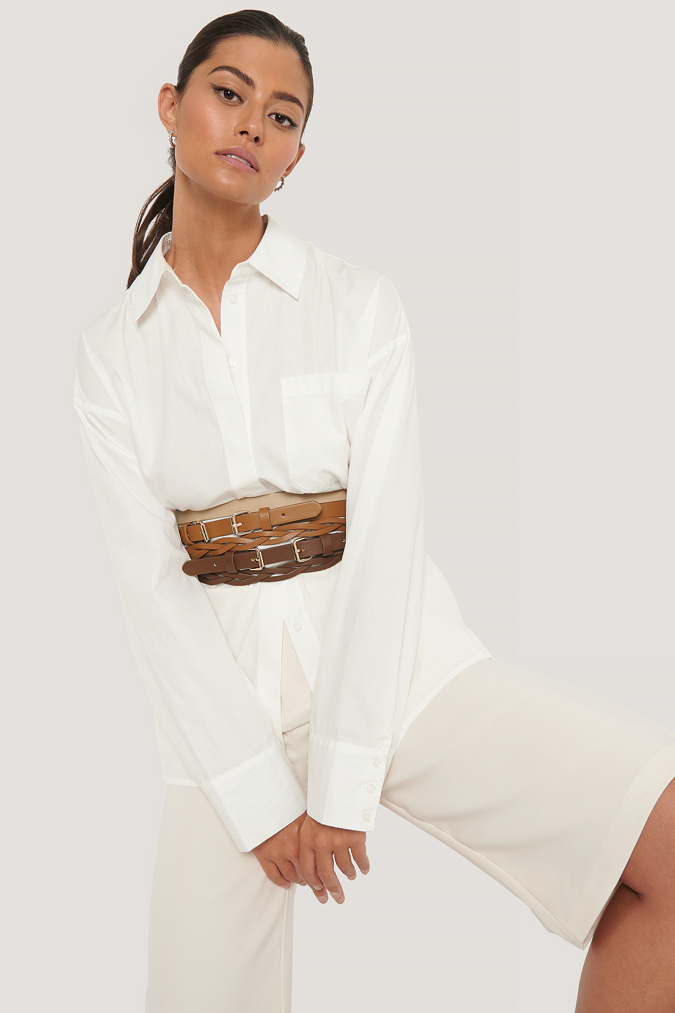 Brown Layer Look Waist Belt