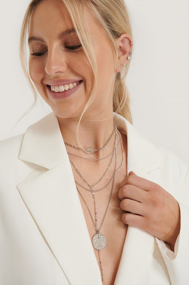 Layered Coin Drop Chain Necklace Silver