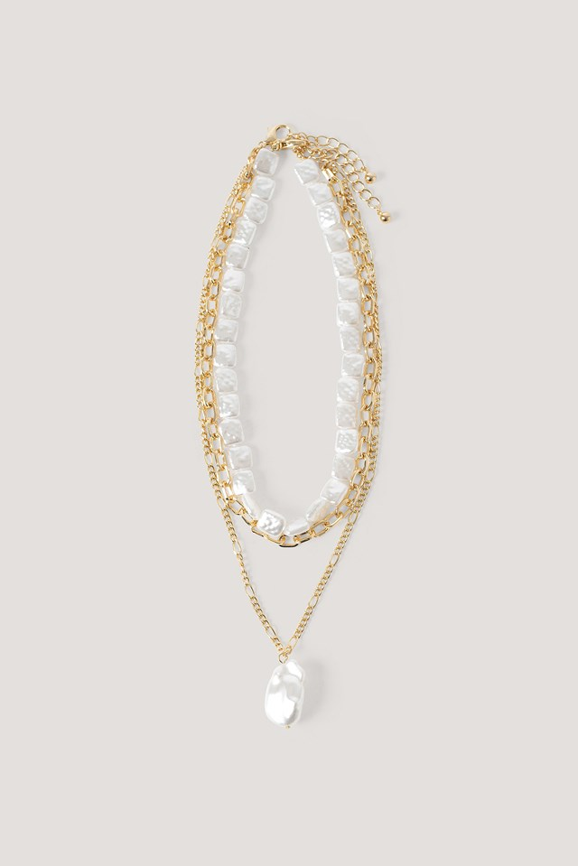 Layered Flat Pearl Necklaces Gold/White