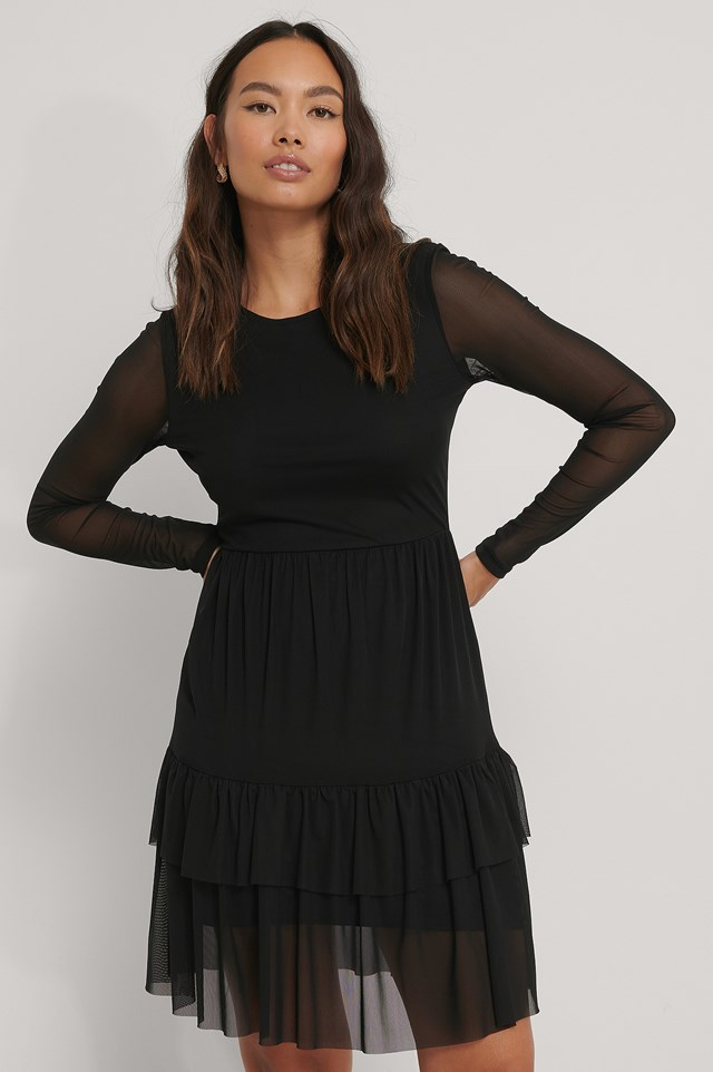 Layered Mesh Dress Black