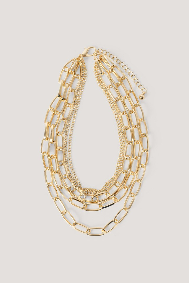 Layered Oval Chains Necklace Gold