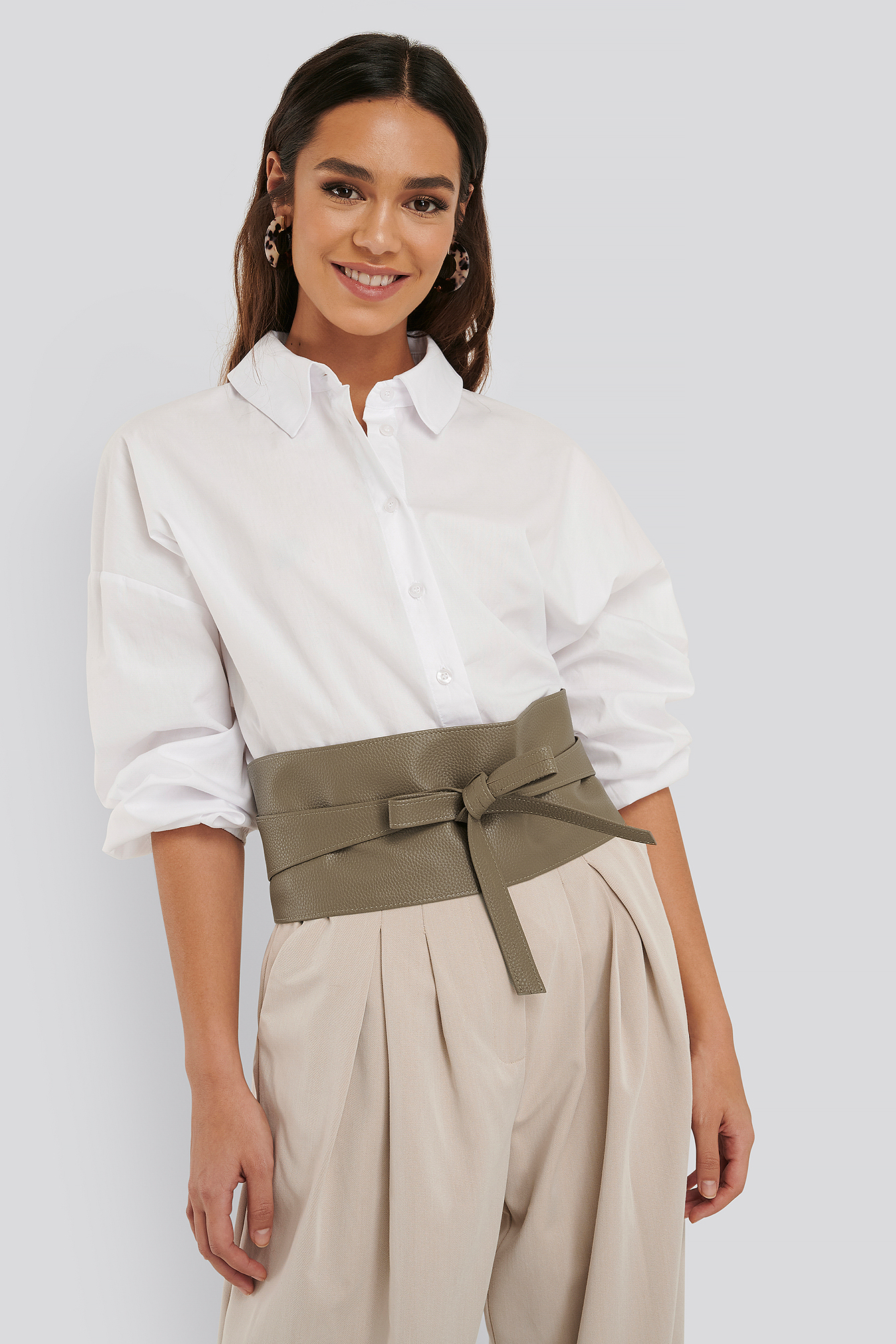 Dusty Green Layered Oversize Waist Belt