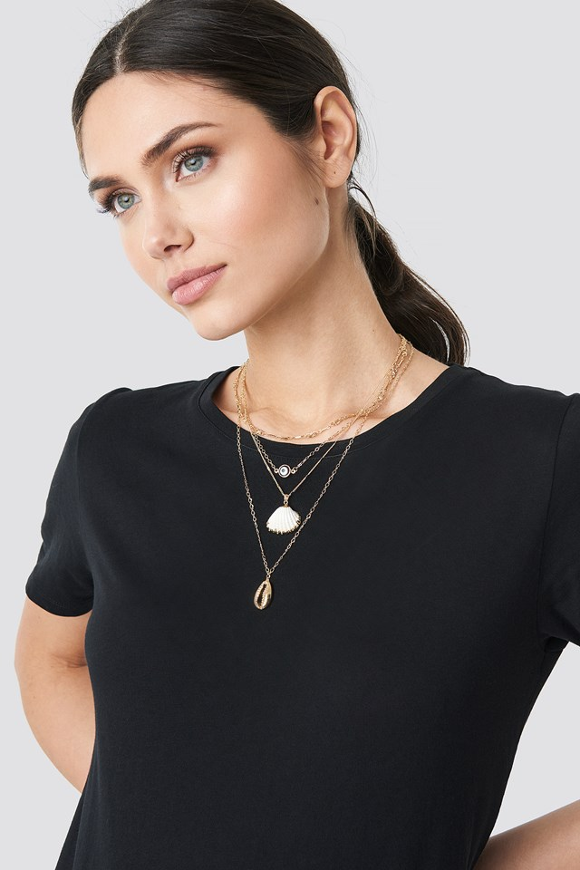 Layered Shell Necklace Gold