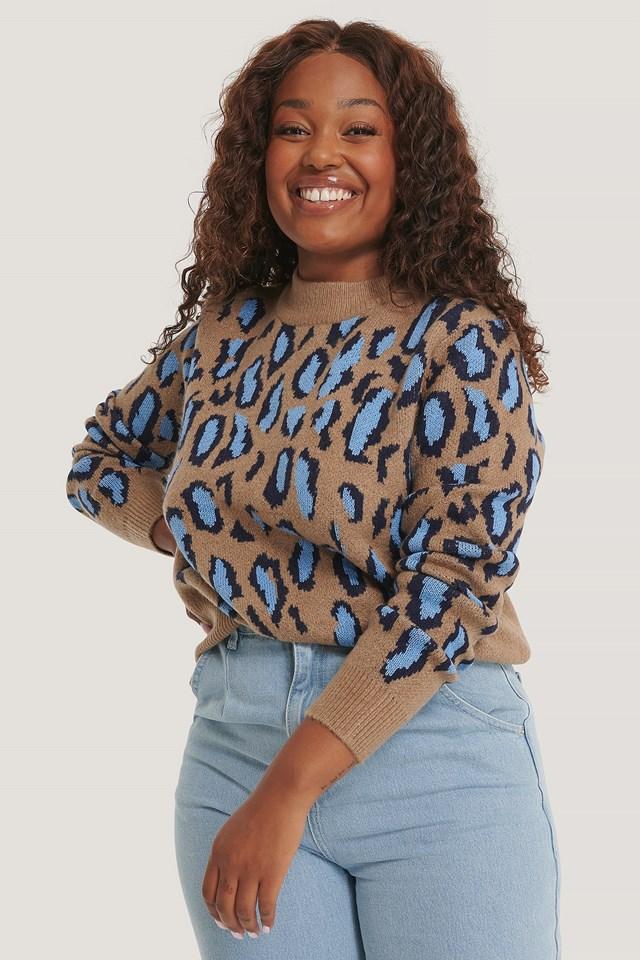 Dziergany Sweter Z Okrągłym Dekoltem, Cętki Lwa Blue/Beige