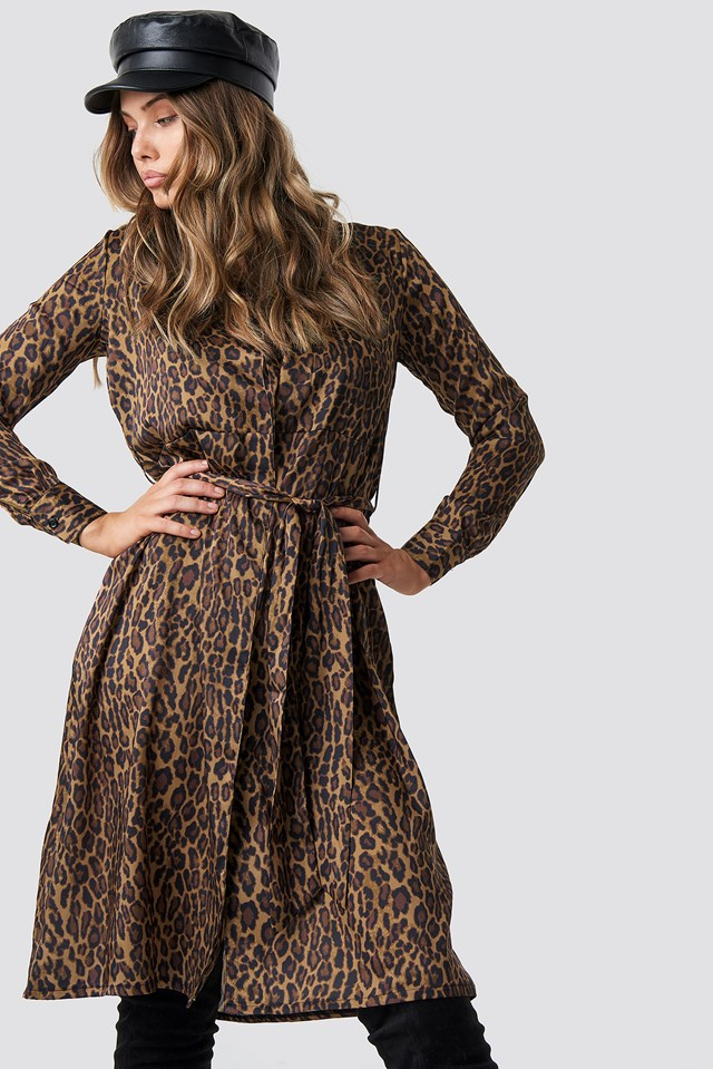 Leopard Print Satin Dress Leopard