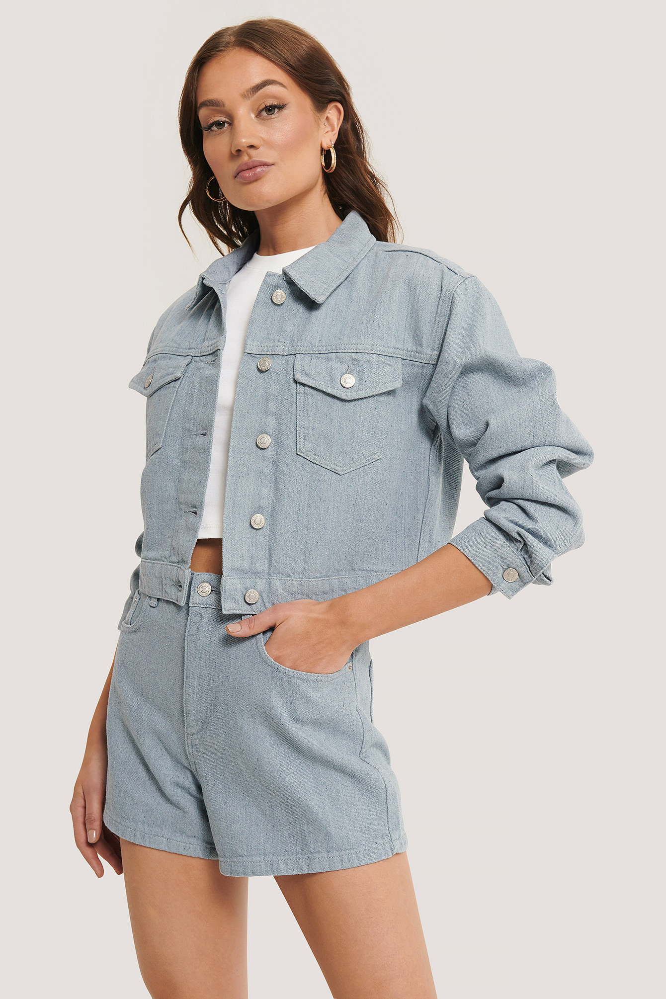 Light Blue Recycled Light Blue Denim Jacket