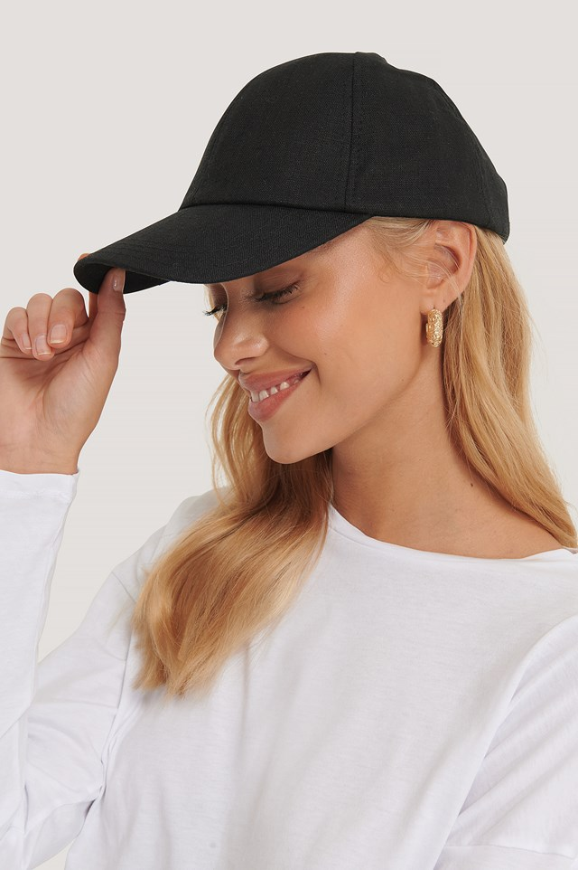 Linen Baseball Cap Black