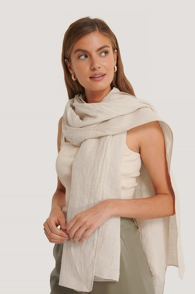 Linen Blanket Scarf Natural