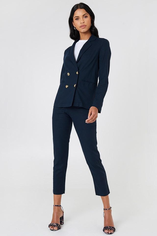 Linen Look Pants Dark Blue