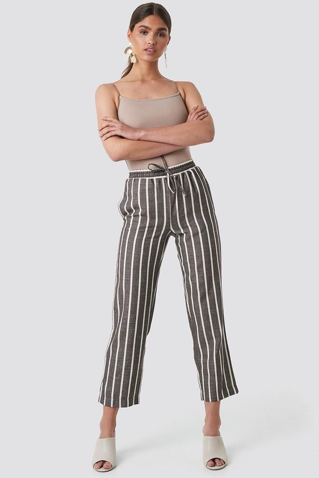 Linen Look Striped Pants Brown