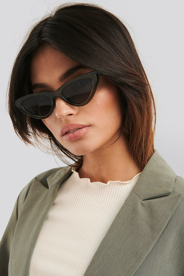 Long Edge Cateye Sunglasses Dusty Green