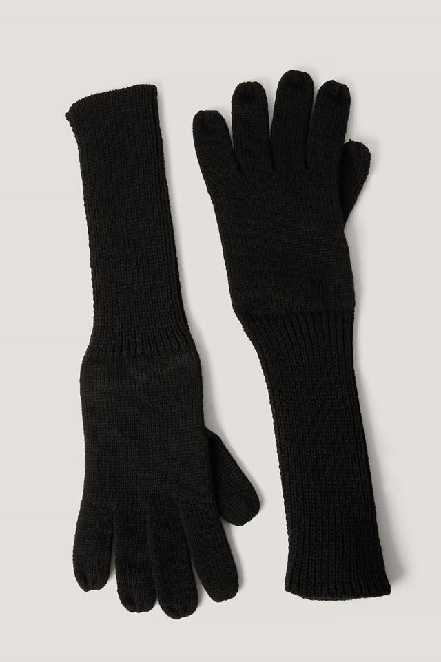 Long Knit Gloves Black