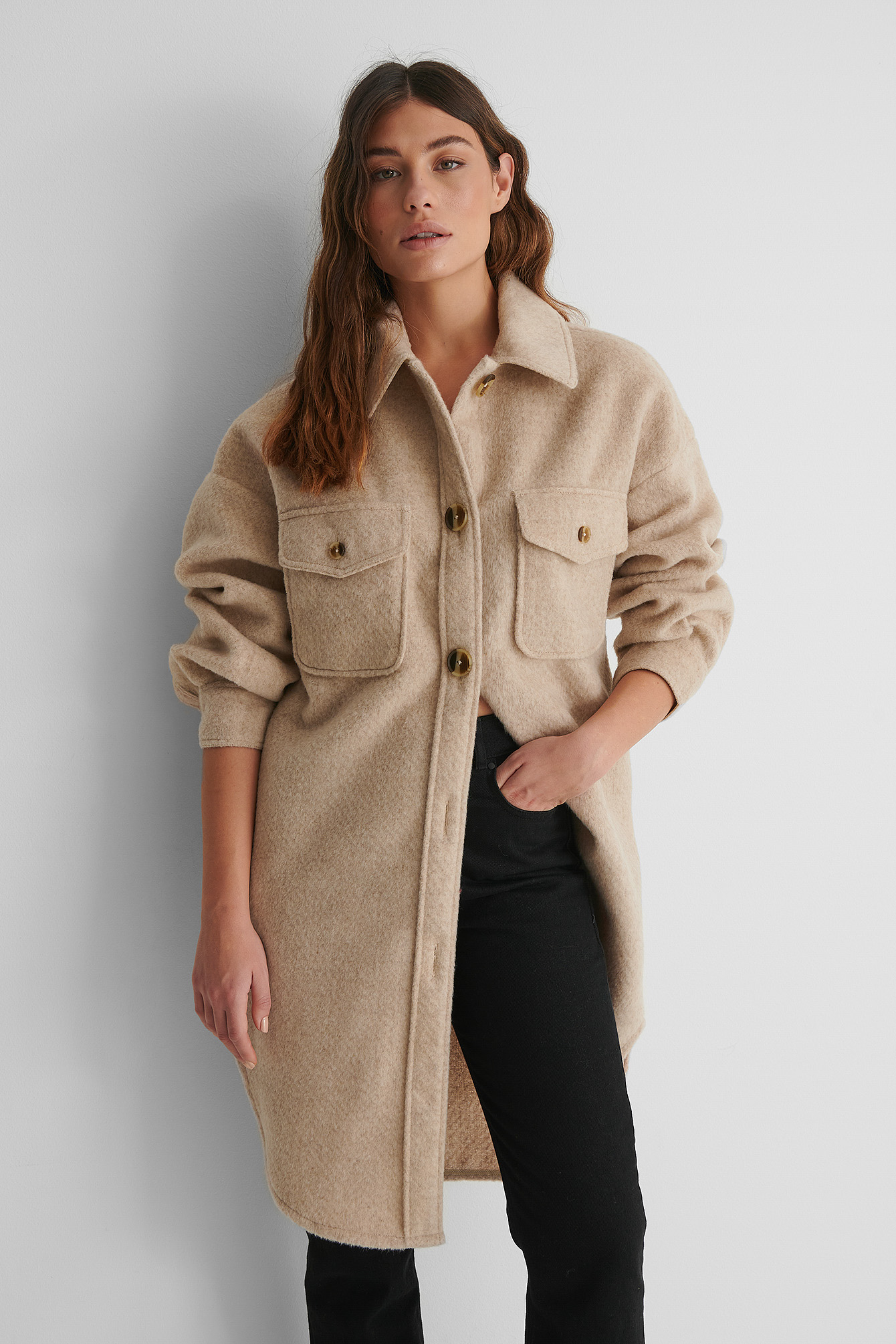 Light Beige Long Overshirt