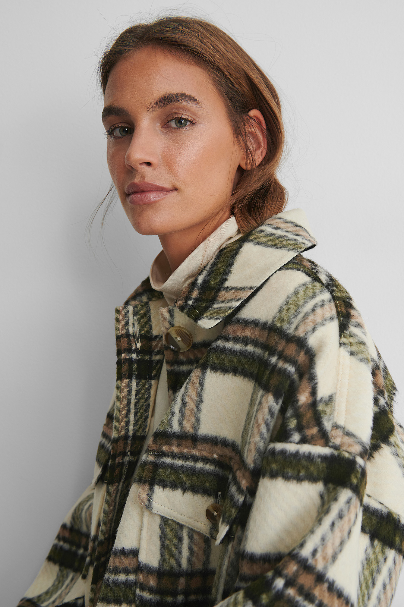 Checked Long Overshirt