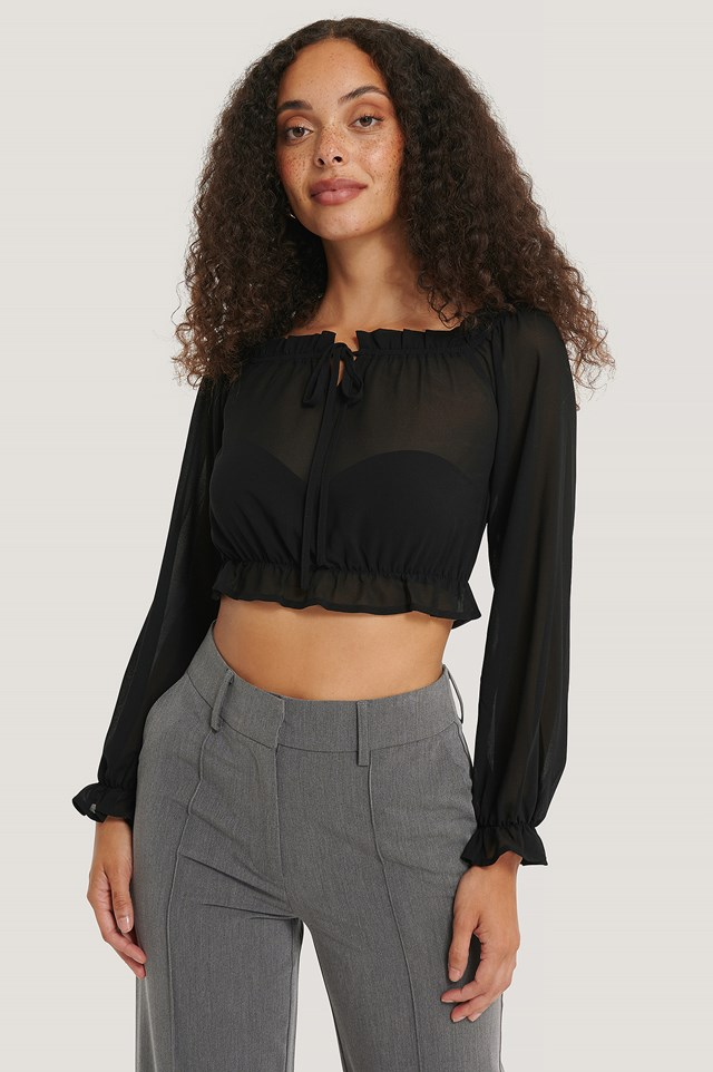 Black Long Sleeve Cropped Frill Top