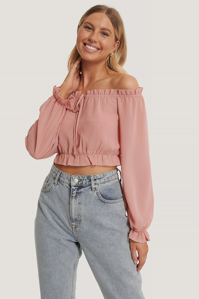 Dusty Pink Long Sleeve Cropped Frill Top