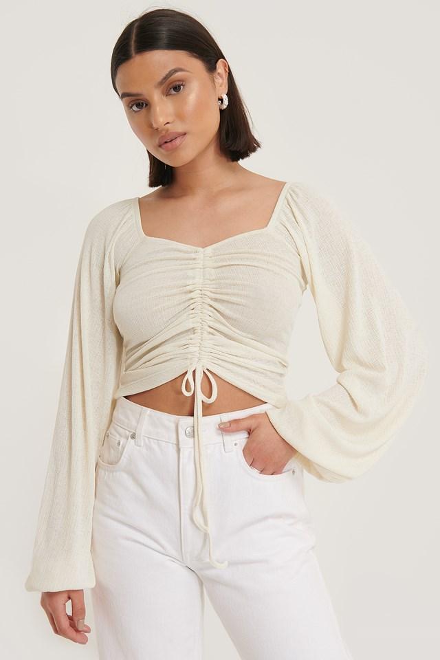 Long Sleeve Drawstring Top White