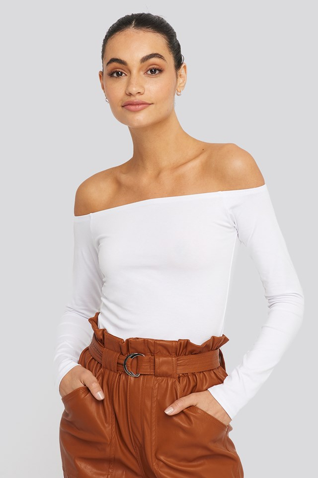 Long Sleeve Off Shoulder Top White