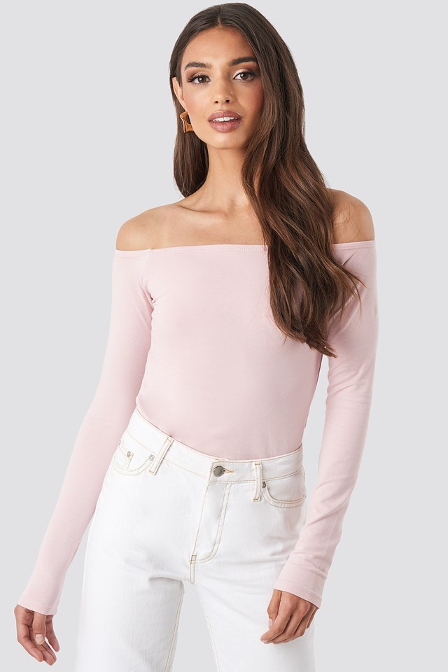 Long Sleeve Off Shoulder Top Dusty Light Pink