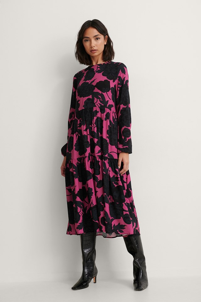 Black/Pink Print Sukienka Z Długim Rękawem