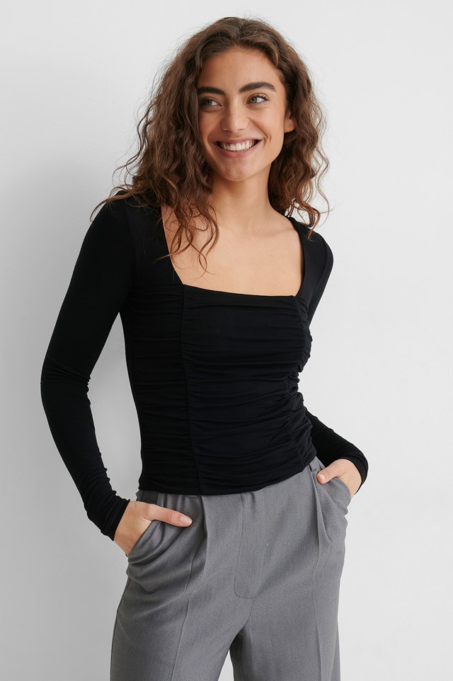 Long Sleeve Rouched Top Black