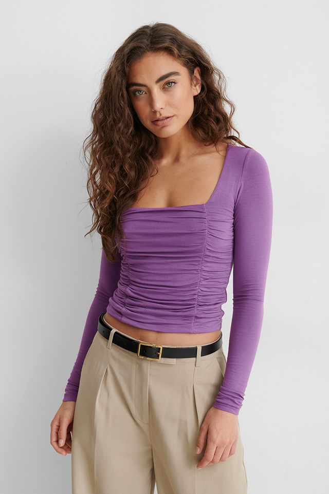 Long Sleeve Rouched Top Lilac
