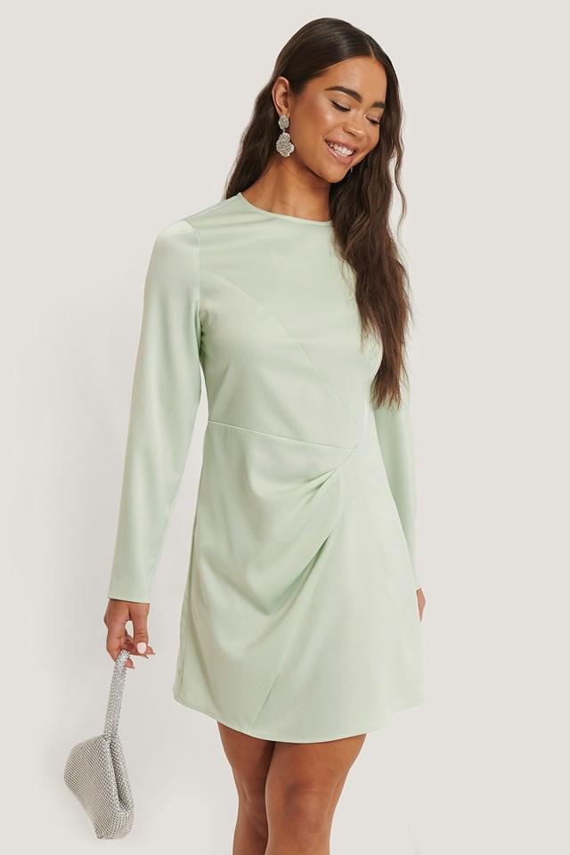Long Sleeve Satin Mini Dress Mint