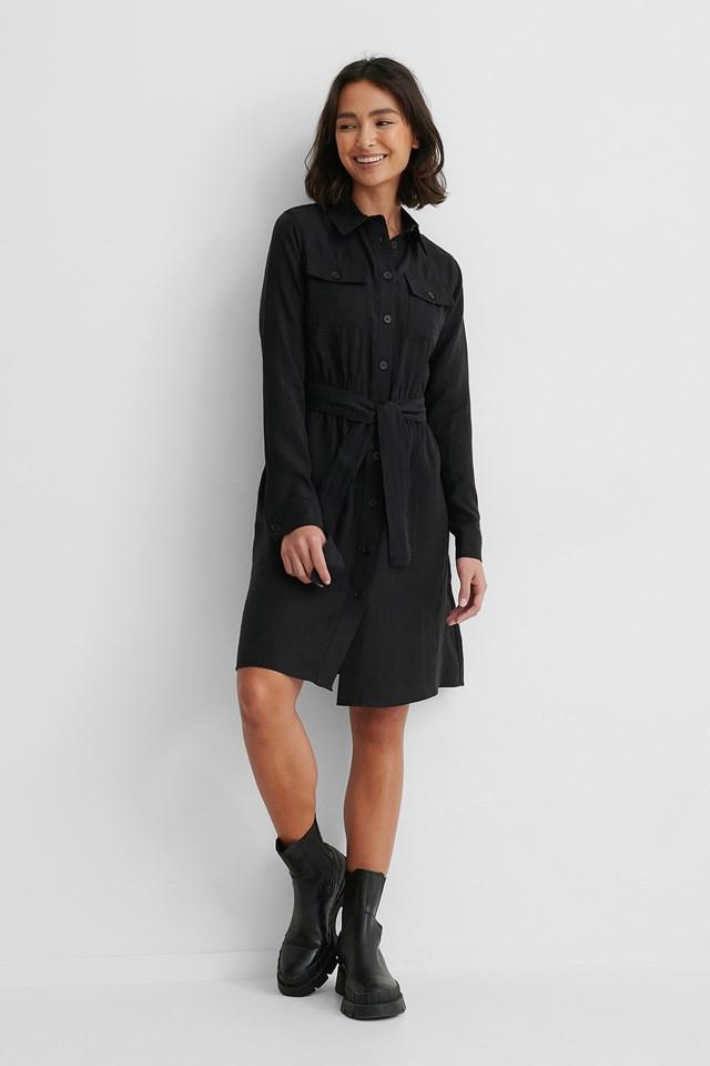 Long Sleeve Utility Dress Black