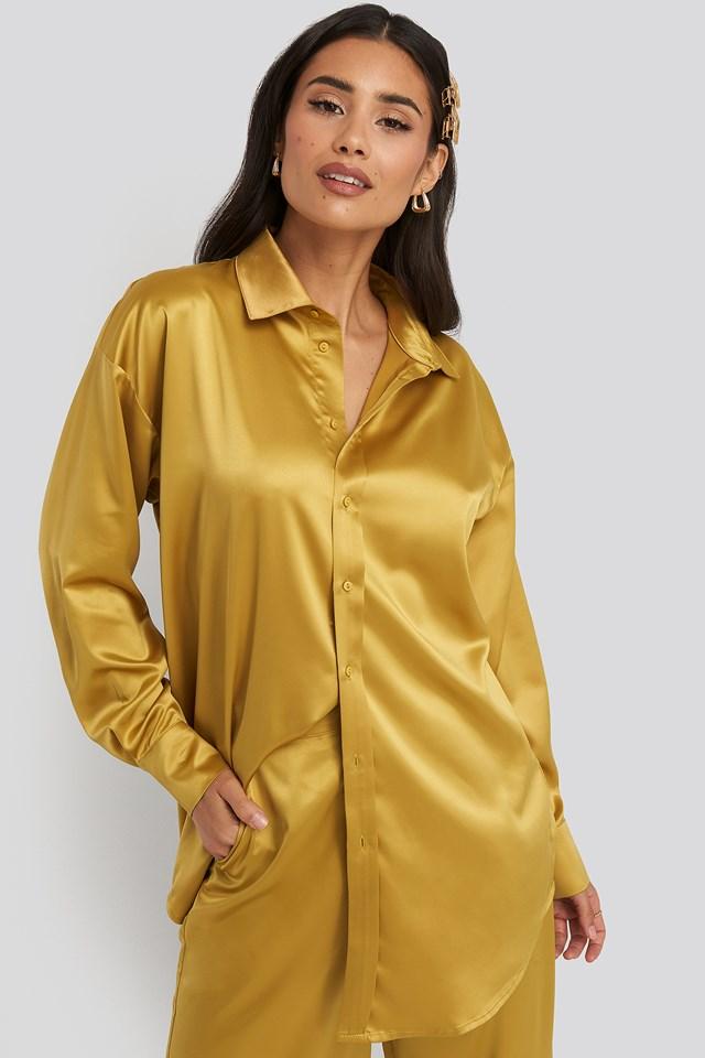 Longline Satin Shirt Yellow