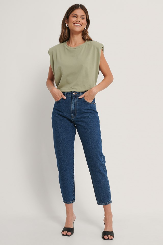 Dark Blue Organic Loose Fit Mom Jeans