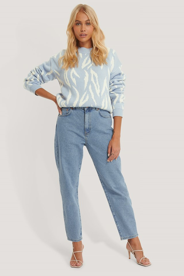 Light Blue Organic Loose Fit Mom Jeans