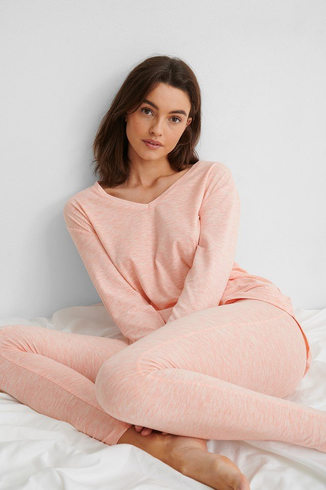 Pink Melange Loungewear Cotton Set