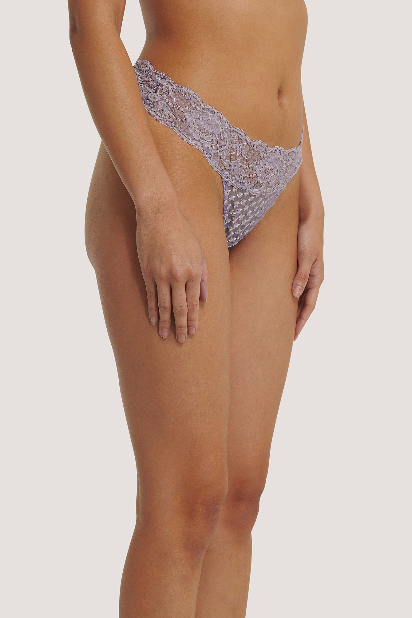 Lilac Flower Embroided Lace Thong