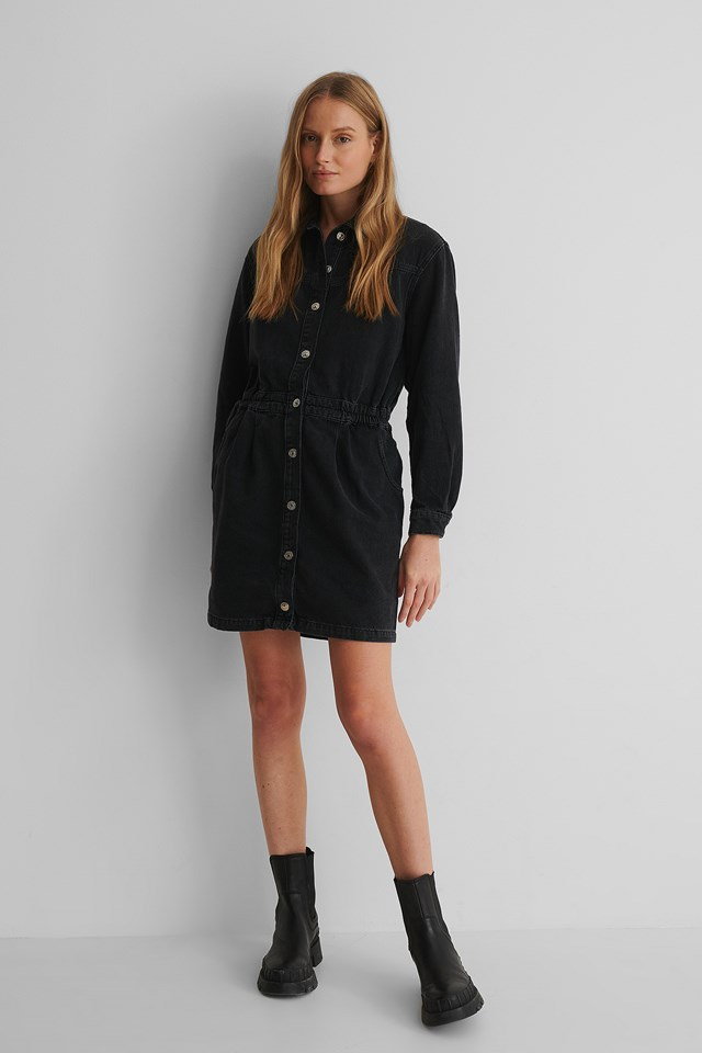 Luna Dress Black Denim