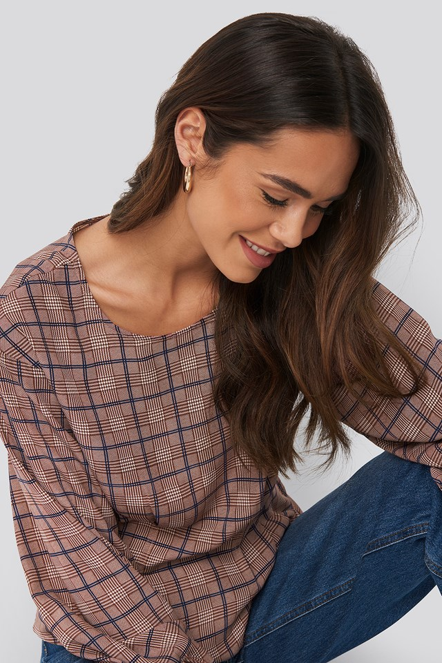 Marked Waist Blouse Check